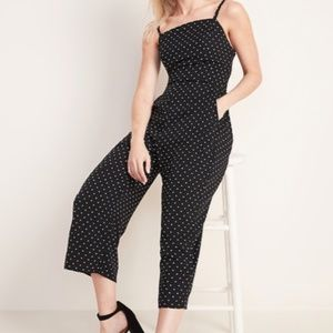 Old Navy Black and White Square-Neck Jumpsuit XXL